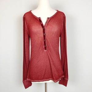 Lucky Brand Textured Cotton Fitted Henley Top